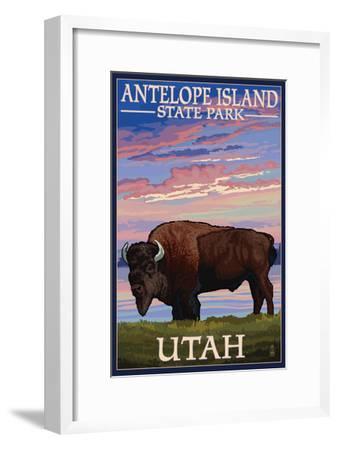 Antelope Island State Park, Utah - Bison and Sunset-Lantern Press-Framed Art Print