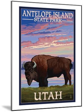 Antelope Island State Park, Utah - Bison and Sunset-Lantern Press-Mounted Art Print