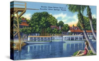 Silver Springs, Florida - View of Electric Glass Bottom Boats-Lantern Press-Stretched Canvas Print