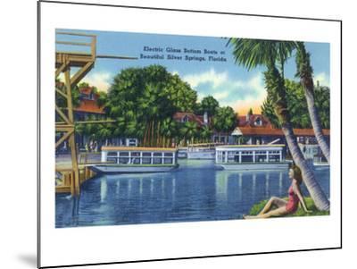 Silver Springs, Florida - View of Electric Glass Bottom Boats-Lantern Press-Mounted Art Print
