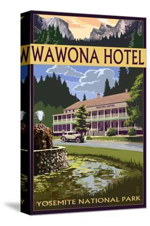 Wawona Hotel - Yosemite National Park - California-Lantern Press-Stretched Canvas Print