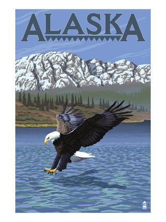Alaska - Eagle Diving-Lantern Press-Framed Art Print