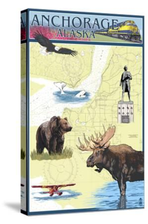 Anchorage, Alaska - Nautical Chart-Lantern Press-Stretched Canvas Print