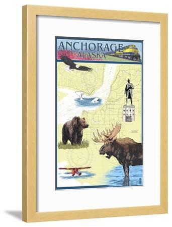 Anchorage, Alaska - Nautical Chart-Lantern Press-Framed Art Print
