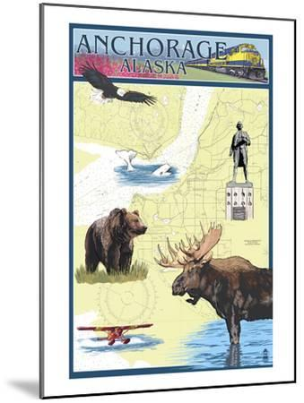 Anchorage, Alaska - Nautical Chart-Lantern Press-Mounted Art Print