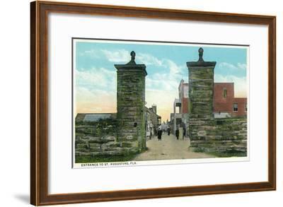 St. Augustine, Florida - View of the City Gates-Lantern Press-Framed Art Print