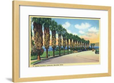 California - Palms Along a Southern Californian Shoreline Drive-Lantern Press-Framed Art Print