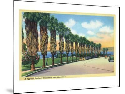 California - Palms Along a Southern Californian Shoreline Drive-Lantern Press-Mounted Art Print