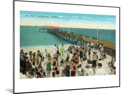 Clearwater, Florida - View of City Pier from Beach-Lantern Press-Mounted Art Print
