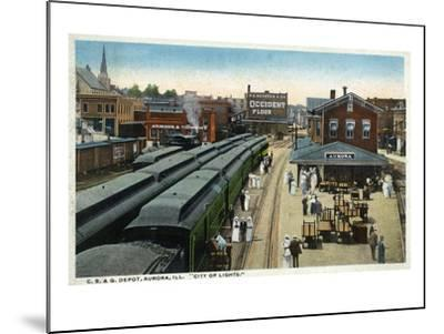 Aurora, Illinois - Chicago, Burlington, and Quincy Railroad Depot-Lantern Press-Mounted Art Print