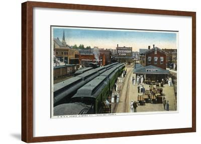 Aurora, Illinois - Chicago, Burlington, and Quincy Railroad Depot-Lantern Press-Framed Art Print