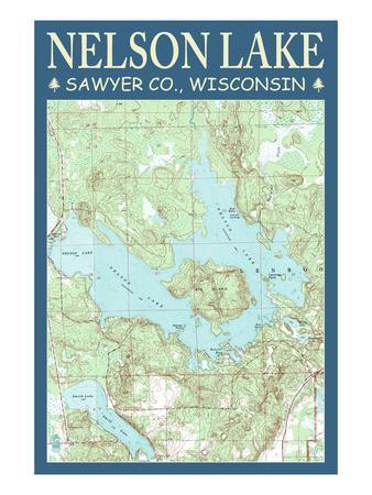 Nelson Lake Chart - Sawyer County, Wisconsin-Lantern Press-Stretched Canvas Print