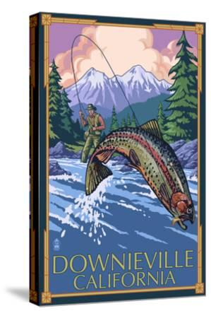 Downieville, California - Fly Fishing-Lantern Press-Stretched Canvas Print