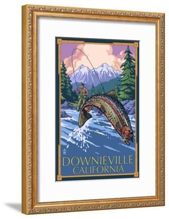 Downieville, California - Fly Fishing-Lantern Press-Framed Art Print