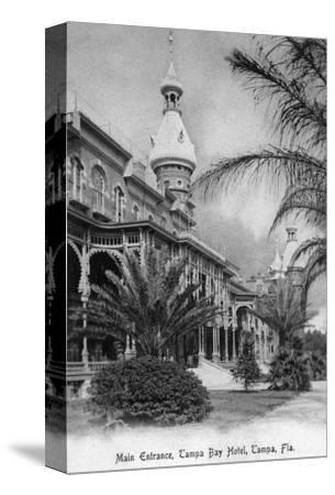 Tampa, Florida - Tampa Bay Hotel Main Entrance View-Lantern Press-Stretched Canvas Print