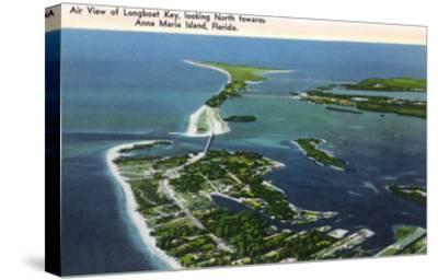 Anna Maria Island, Florida - Aerial View of Island, Longboat Key-Lantern Press-Stretched Canvas Print