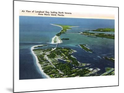 Anna Maria Island, Florida - Aerial View of Island, Longboat Key-Lantern Press-Mounted Art Print