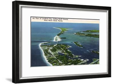 Anna Maria Island, Florida - Aerial View of Island, Longboat Key-Lantern Press-Framed Art Print