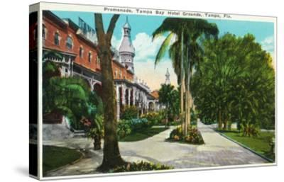 Tampa, Florida - Tampa Bay Hotel Promenade Scene-Lantern Press-Stretched Canvas Print