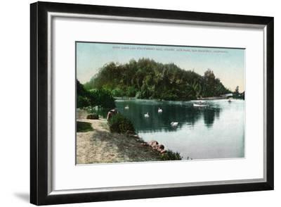 San Francisco, California - Golden Gate Park, Strawberry Hill and Stow Lake-Lantern Press-Framed Art Print