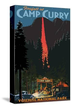 Firefall and Camp Curry - Yosemite National Park, California-Lantern Press-Stretched Canvas Print