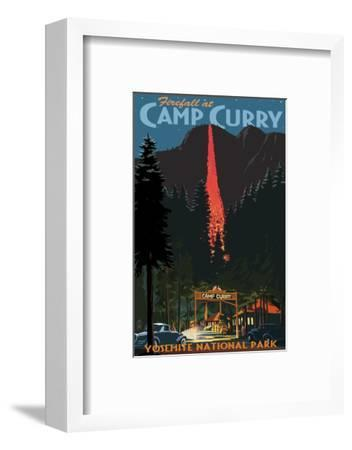 Firefall and Camp Curry - Yosemite National Park, California-Lantern Press-Framed Art Print