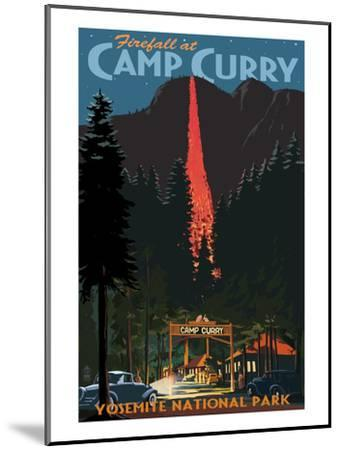 Firefall and Camp Curry - Yosemite National Park, California-Lantern Press-Mounted Art Print
