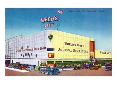 St. Petersburg, Florida - Exterior View of Webb's City Drugstore-Lantern Press-Framed Art Print
