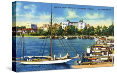St. Petersburg, Florida - Central Yacht Basin Scene-Lantern Press-Stretched Canvas Print