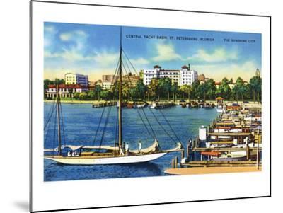 St. Petersburg, Florida - Central Yacht Basin Scene-Lantern Press-Mounted Art Print