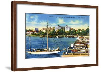 St. Petersburg, Florida - Central Yacht Basin Scene-Lantern Press-Framed Art Print