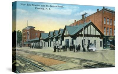 Corning, New York - New Erie Train Station and St. James Hotel View-Lantern Press-Stretched Canvas Print