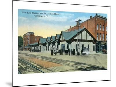 Corning, New York - New Erie Train Station and St. James Hotel View-Lantern Press-Mounted Art Print