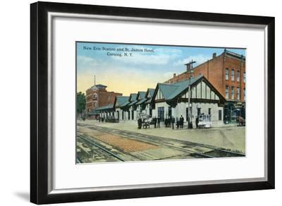 Corning, New York - New Erie Train Station and St. James Hotel View-Lantern Press-Framed Art Print