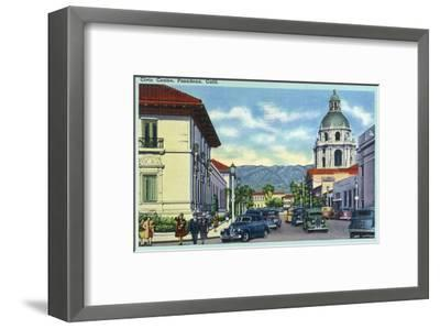 Pasadena, California - Civic Centre Scene-Lantern Press-Framed Art Print