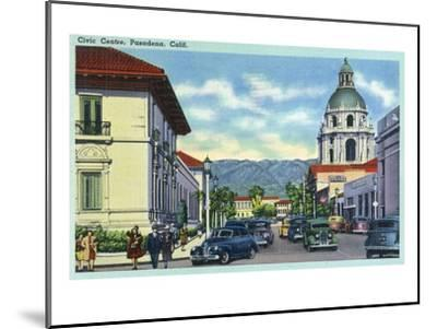 Pasadena, California - Civic Centre Scene-Lantern Press-Mounted Art Print