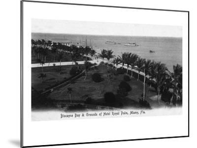 Miami, Florida - Royal Palm Hotel Grounds and Biscayne Bay View-Lantern Press-Mounted Art Print