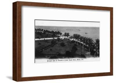 Miami, Florida - Royal Palm Hotel Grounds and Biscayne Bay View-Lantern Press-Framed Art Print