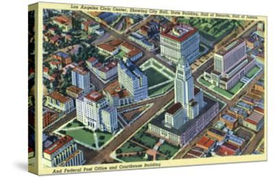 Los Angeles, California - Aerial View of the Civic Center and Buildings-Lantern Press-Stretched Canvas Print