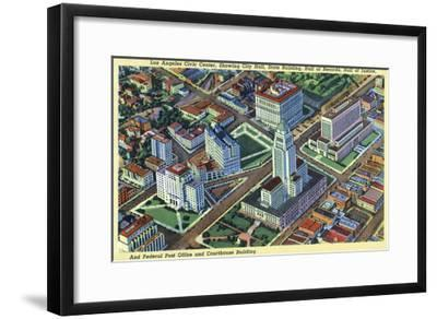 Los Angeles, California - Aerial View of the Civic Center and Buildings-Lantern Press-Framed Art Print