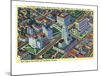 Los Angeles, California - Aerial View of the Civic Center and Buildings-Lantern Press-Mounted Art Print