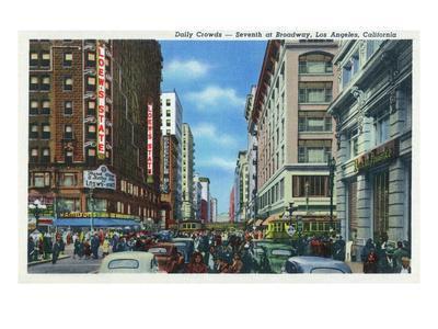 Los Angeles, California - Crowds at Seventh and Broadway-Lantern Press-Framed Art Print