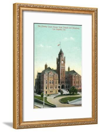 Los Angeles, California - Exterior View of County Court House from Temple and Broadway-Lantern Press-Framed Art Print