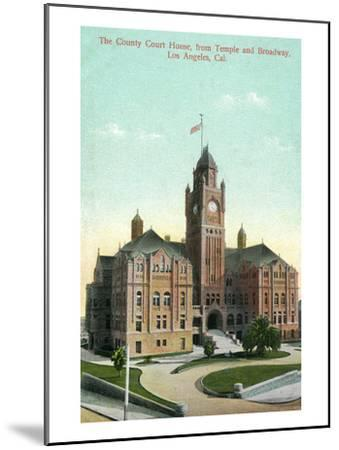 Los Angeles, California - Exterior View of County Court House from Temple and Broadway-Lantern Press-Mounted Art Print
