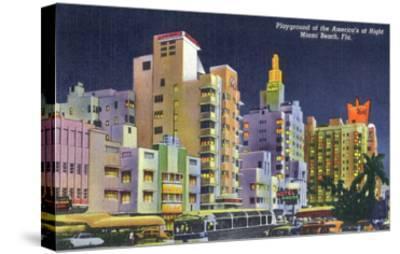 Miami Beach, Florida - City Scene at Night-Lantern Press-Stretched Canvas Print