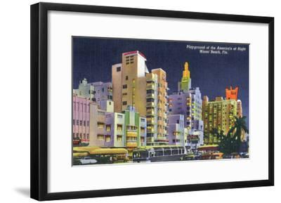 Miami Beach, Florida - City Scene at Night-Lantern Press-Framed Art Print