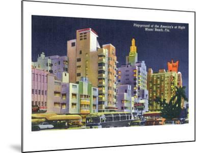 Miami Beach, Florida - City Scene at Night-Lantern Press-Mounted Art Print