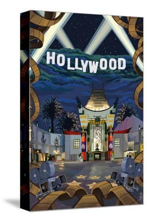 Hollywood, California Scenes-Lantern Press-Stretched Canvas Print