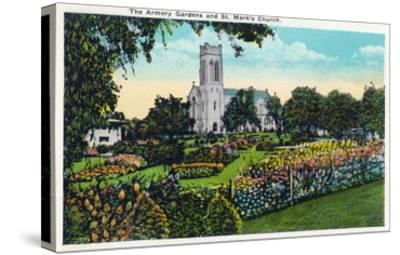 Minneapolis, Minnesota - Exterior View of St. Mark's Church from the Armory Gardens-Lantern Press-Stretched Canvas Print