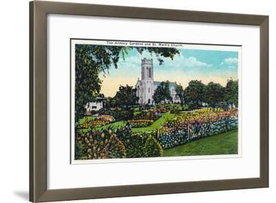 Minneapolis, Minnesota - Exterior View of St. Mark's Church from the Armory Gardens-Lantern Press-Framed Art Print